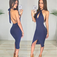 Navy Blue Halter Bodycon Dress