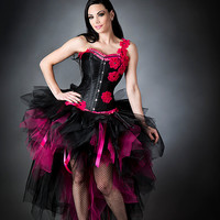 Size Small hot pink and black floral one shoulder tulle corset burlesque prom dress Ready to Ship