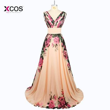 Cheap Long Evening Gown A Line Flowers Printed V Neck Evening Dress 2016 Floral Print Chiffon Party Prom Dresses