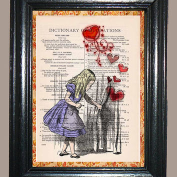 Alice in Wonderland - Alice Releasing Red Hearts from the Curtain - Vintage Dictionary Page Art Print Upcycled Book Page Art Collage Art