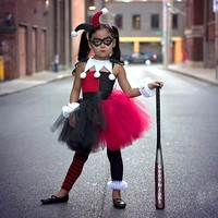 Superhero Inspired Red Black Harley Quinn Baby Tutu Dress Girls Party Dresses Holiday Clothing Christmas Costume Vestidos