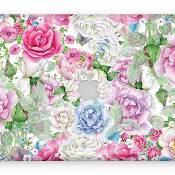 Vintage watercolor flowers floral roses MacBook skin decal laptop sticker vinyl decal MacBook cover MacBook decal MacBook sticker