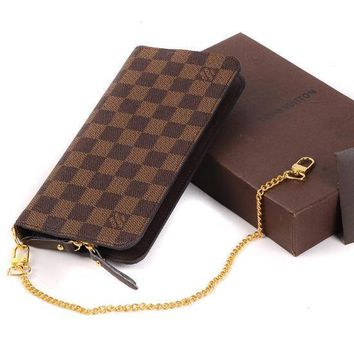 Louis Vuitton LV Women Leather Chain Zipper Wallet Purse Crossbody-3