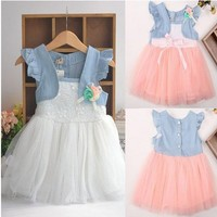 Baby Kids Girls Princess Party Denim Tulle Flower Dresses Toddler Skirts 6m-4y F