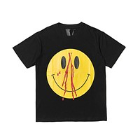 VLONE LIFE guerrilla shop limited cute cute smile face TEE yellow big V word print loose men and women couple short-sleeved T-shirt