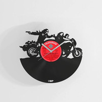 Sons of Anarchy inspired biker wall clock from upcycled vinyl record (LP), handmade gift for Sons of Anarchy fan, Sons of Anarchy wall decor