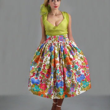 Midi Skirt - Plus Size High Waisted Skirt, Circle Skirt, Full Floral Skirt, A-line Tea Length Summer Skirt, Bridesmaid Skirt, 50s Skirt