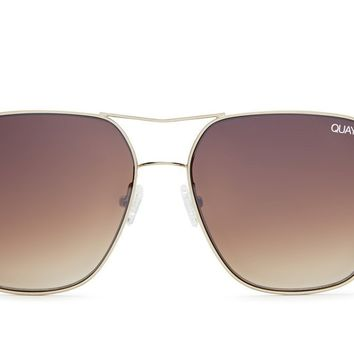 Quay Stop & Stare Gold / Brown Sunglasses