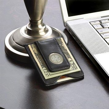 Personalized Leather Wallet and Money Clip Free Engraving