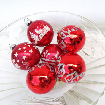 Vintage Glass Ornaments, Christmas Ornaments, Red White Balls, Shiny Brite - Lot of 6
