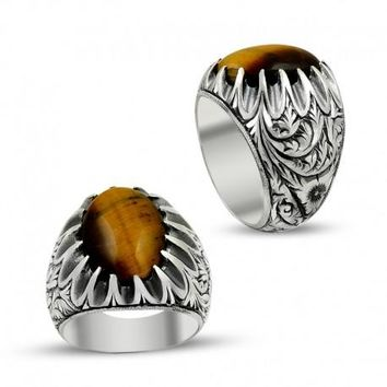Filigree tiger`s eye gemstone 925k sterling silver mens ring unique turkish jewelry handcrafted