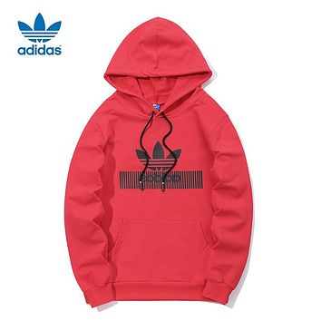 ADIDAS Clover Tide brand men and women long sleeve hooded hoodie Red