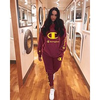 Champion Fashionable Women Leisure Embroidery Long Sleeve Top Pants Two-Piece Burgundy