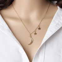 Crescent Moon and Stars Pendant Necklace