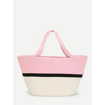 Color Block Straw Tote Bag - Purse - Large Bag - Beach Bag