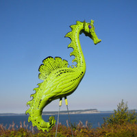 Seahorse Flamingo - handmade, garden art sculpture created from a recycled pink plastic flamingo.