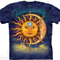 Sun Moon Blue Batik Short Sleeve Shirt hippie Celestial