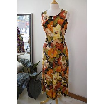 Vintage Orange Floral Printed Maxi Dress