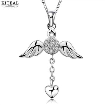 SALE LOVE N674 silver Plated necklace women umbrella pendant necklace CZ stone Angel Wing cross factory store cz jewelry Fine