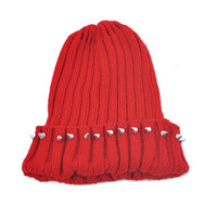 Rivets Embellished Pointed Top Knit Cap