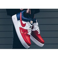 NIKE AIR Air Force 1 Leather Fashion Casual Shoes F-A36H-MY red/white/blue