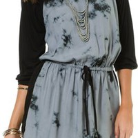 ANGIE DRAWSTRING TIE DYE RAGLAN DRESS | Swell.com