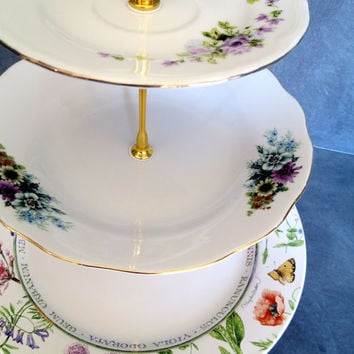 3 Tier Cake Stand, Spring Cake Plate, Tiered Cakestand, Wedding Plate Stand | Colorful China Mismatched Plates (Item# 00172)