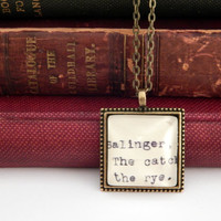 Salinger book necklace, Catcher in the Rye, Dewey Decimal card catalogue, literature jewelry, gifts for readers, book pendant, under 25 gift