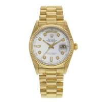 Rolex Day-Date 18038 18K Yellow Gold Diamond Dial Automatic Men's Watch