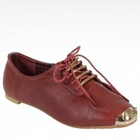 Shullys SK0294GC-7-3 Metallic Capped Oxfords   Women Flats BURGUNDY Bare Feet Shoes