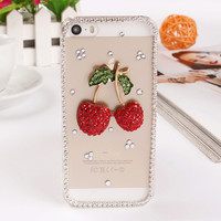 Beautiful Crystal Cherry Phone Cases Cover For iPhone 5 5S 6 6S 4.7 6plus 5.5