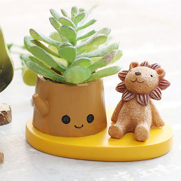 Cute Mini Animals Resin Flowerpot