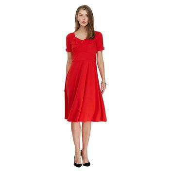 Chic Sweetheart Neck Half Sleeve A-Line Midi Dress for Women