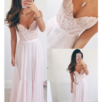 Spaghetti Straps A-Line Pink Chiffon Prom Dresses Evening Dresses