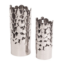 Bright Nickel Plated Ceramic Coin Vases - set of 2