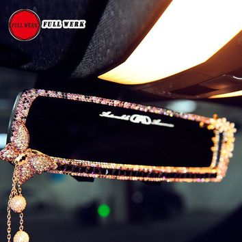 1pc Car Diamond Interior Rearview Mirror Bling Butterfly Flower Car Interior Mirror Decoration for Girls Women Auto Accessories
