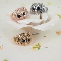 High Quality Fashion Alloy Costume Jewellery Ring For Women Vintage Owl Face Ring US 6 Rose Golden
