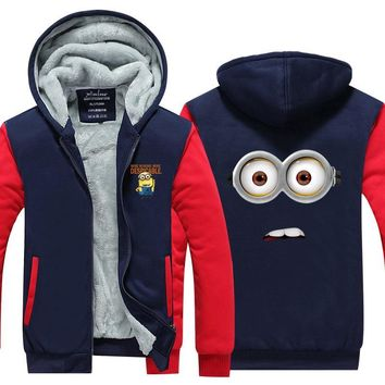 2017 Mens Hoodie winter Despicable Me Thicken Fleece Cute Minions US EU Plus Size