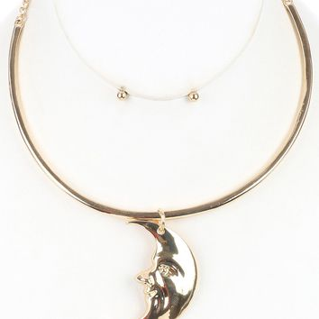 Crescent Moon  Choker Face Link Chain Necklace Earring Set