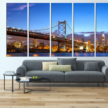 Philadelphia canvas wall art, ben franklin bridge large canvas print, extra large wall art, Philadelphia skyline wall decor art  t126