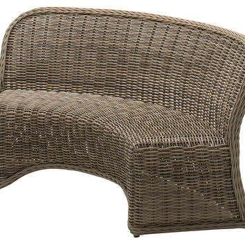 Havana Curved Dining Bench, Willow, Outdoor Dining Benches