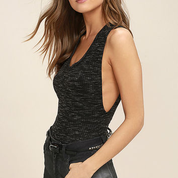 Free People Secret Sides Black Bodysuit