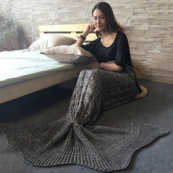 High Quality Knitted Braid Mermaid Tail Blanket For Adult