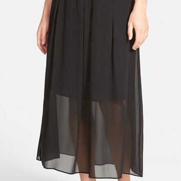 Women's Eileen Fisher Sheer Silk Pleat Midi Skirt,