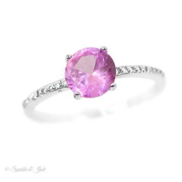 Sterling Silver Created Pink Sapphire and CZ Ring