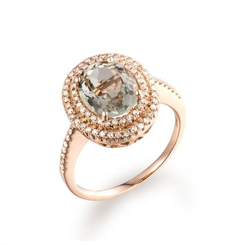 Women's Natural Green Amethyst Solid 14K Rose Gold Real Diamond Engagement Ring