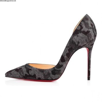 Christian Louboutin IRIZA 100 Camo Wool Flannel D'Orsay Heels Pumps Shoes $695