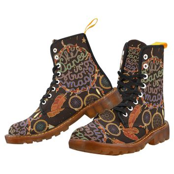 Native American Indian Dream Catcher Lace Up Martin Boots for Women