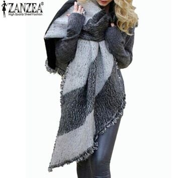 Zanzea 2016 Winter Zanzea Fashion Women Blanket Scarf Female Cashmere Pashmina Wool Scarf Shawl Warm Thick Scarves Cape Wraps