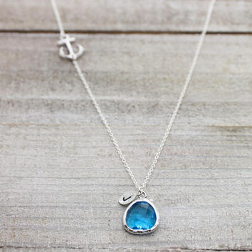 Custom hand stamped initial blue stone anchor silver necklace